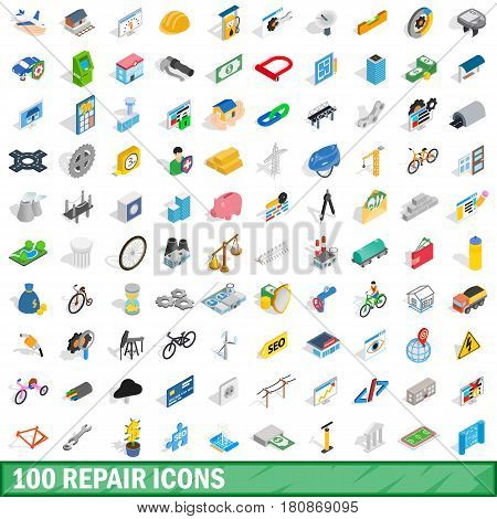 100 repair icons set in isometric 3d style for any design vector illustration