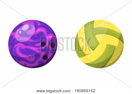 Sport balls isolated tournament win round bowling equipment and recreation volleyball leather group traditional different design vector illustration. American many hobbies activity symbol.