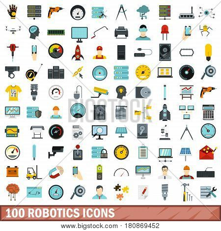 100 robotics icons set in flat style for any design vector illustration