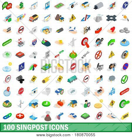 100 signpost icons set in isometric 3d style for any design vector illustration