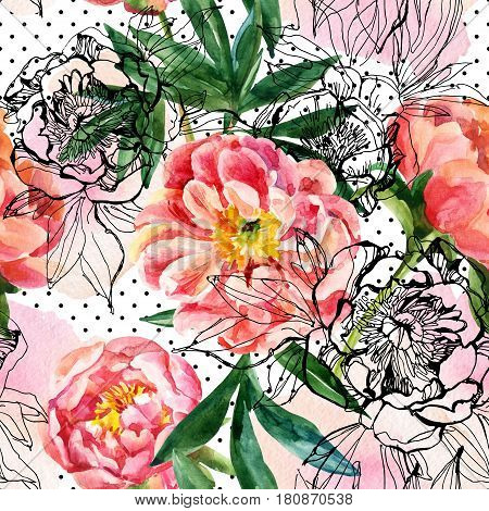 Watercolor and sketch peonies seamless pattern. Peony flowers in water color and graphic technique on polka dot background with scrabbles and blobs. Hand painted and drawn floral illustration