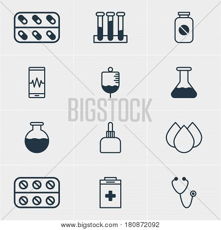 Vector Illustration Of 12 Health Icons. Editable Pack Of Antibody, Pills, Trickle And Other Elements.