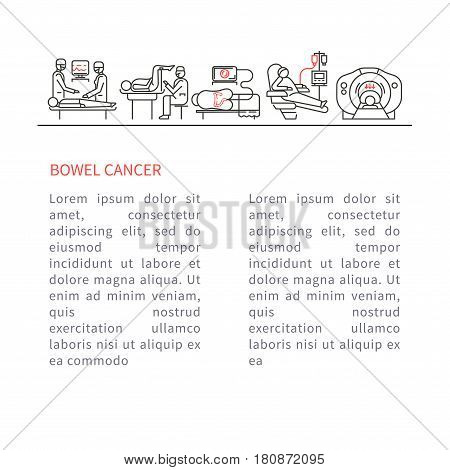 Oncology bowel vector illustration. The concept of health and medical services
