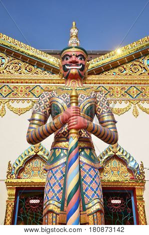 Statue Standing Outside Wat Chayamangkalaram Located In Penang