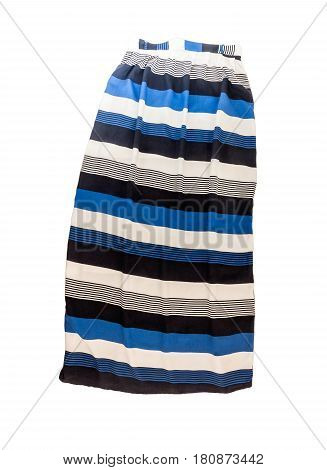 Women's Long Skirt With A Striped Multi-colored Pattern, Isolated On White Background