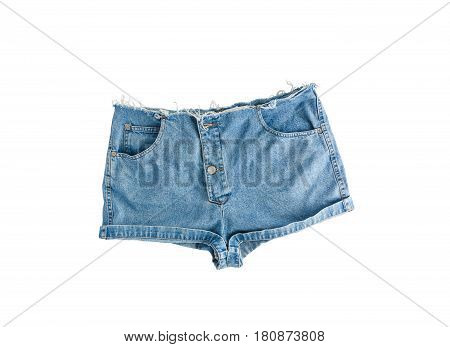 Denim Short Shorts With Torn Edge, Isolated On White Background