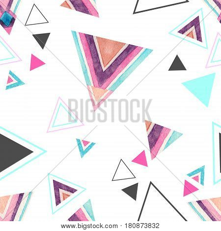 Abstract watercolor triangle seamless pattern on white background. Triangles with aztec ornament lines stripes watercolor textures. Hand painted colorful illustration