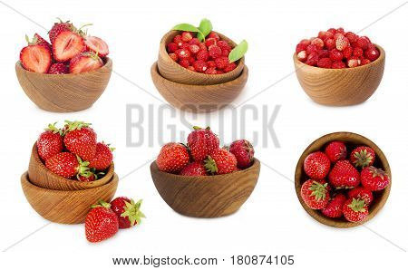 set of bowls with strawberries isolated on white background. Ripe strawberries close-up. Background berry. Collage of strawberries and wild strawberries. Sweet and juicy berry with copy space for text.