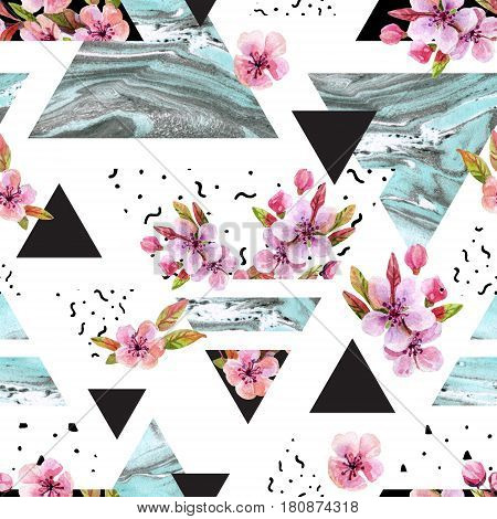 Abstract spring geometric seamless pattern. Triangles with watercolor cherry tree blossom flowers marble grunge texture. Water color background with flowering branches. Hand painted illustration