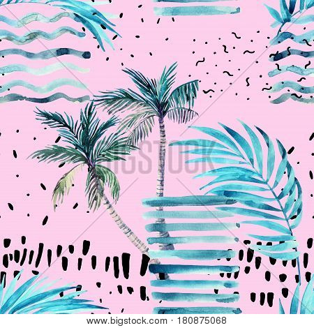Abstract summer seamless pattern. Watercolor palm tree leaves grunge textures doodles brush strokes. Water color background in minimalistic style. Hand painted tropical illustration on pink