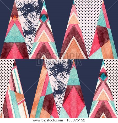 Triangle seamless pattern. Abstract geometrical background in 80s or 90s. Geometric drawing with grunge water color textures stripes tribal ornament. Hand painted illustration in retro colors