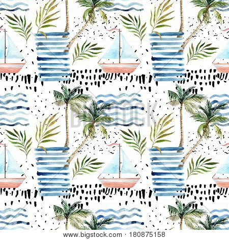 Abstract summer seamless pattern. Watercolor sailboat palm tree leaves grunge textures doodles brush strokes. Water color background in minimalistic style. Hand painted tropical illustration