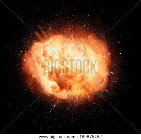 Realistic fiery explosion isolated on black background