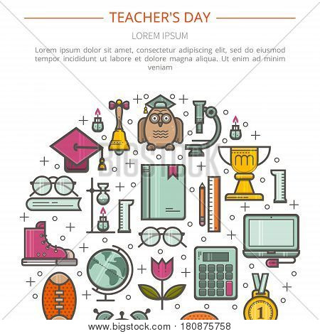 Illustration Happy Teachers Day. The concept of education. Vector in a linear style.