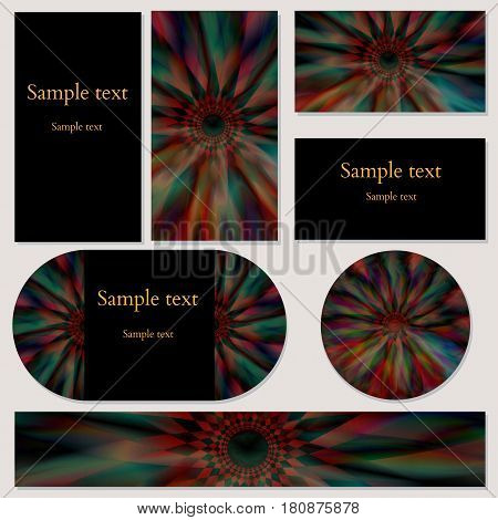 Set of cards with colorful background abstract space pattern for business, invitations and other design needs. Vector illustration editable