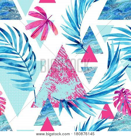 Abstract watercolor triangle and exotic leaves seamless pattern. Triangles with palm leaf marble grunge textures. Geometric background in retro vintage 80s or 90s. Hand painted summer illustration