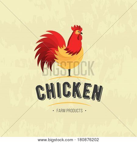 Rooster icon. Cock. Poultry. Farm fresh sign. Chicken Farm meat logo, badges, banners, emblem and design elements for food shop and restaurant. Vector illustration