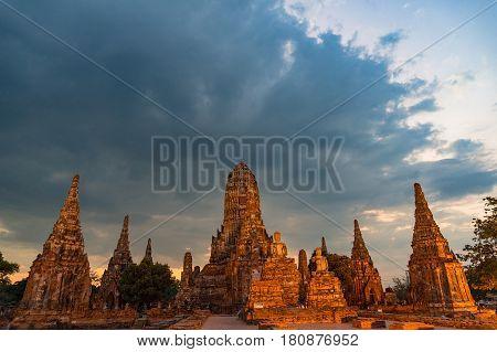 Panoramic View On Ancient Temple. Wat Chai Wattanaram, Thailand