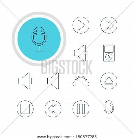 Vector Illustration Of 12 Music Icons. Editable Pack Of Mp3, Reversing, Pause And Other Elements.