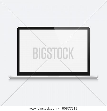 Modern open laptop computer isolated on white background. Vector mockup. Vector realistic illustration