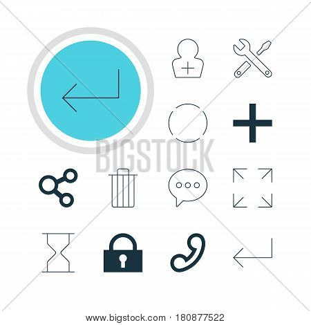 Vector Illustration Of 12 Interface Icons. Editable Pack Of Padlock, Hourglass, Plus And Other Elements.