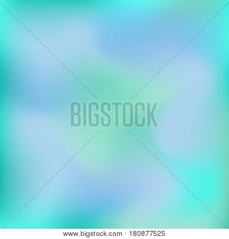 Vector blurred abstract background in blue and green colors. Holographic texture for design
