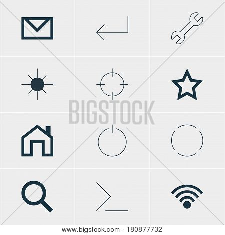 Vector Illustration Of 12 Interface Icons. Editable Pack Of Repeat, Mainpage, Startup And Other Elements.
