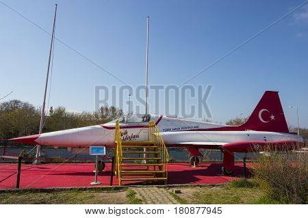 ISTANBUL, TURKEY - 4 APRIL , 2017: Museum of aviation in Istanbul is represented by a large collection of military civil aircraft and also the history of aviation in Turkey