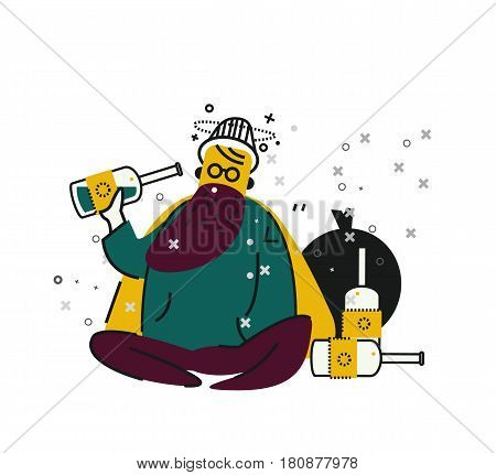 Drunk Homeless drinking alcohol on street. unemployment and homeless issues. flat thin line character. vector illustration