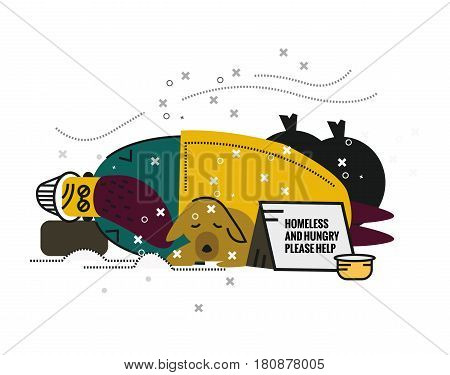 Homeless man with a dog sleeping on street. unemployment and homeless issues. flat thin line character. vector illustration