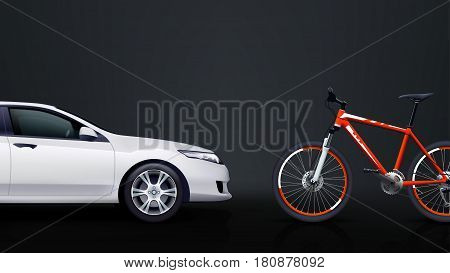 illustration of white car and the red bicycle on dark background view from side