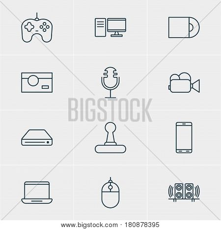Vector Illustration Of 12 Hardware Icons. Editable Pack Of Loudspeaker, Sound Recording, Smartphone And Other Elements.