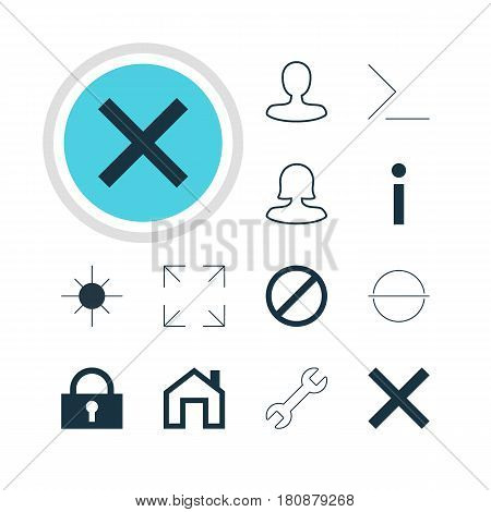 Vector Illustration Of 12 Interface Icons. Editable Pack Of Wrong, Remove, Wide Monitor And Other Elements.