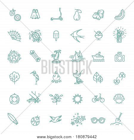 summer icon set. vacation at sea and traveling collection. Thin line design