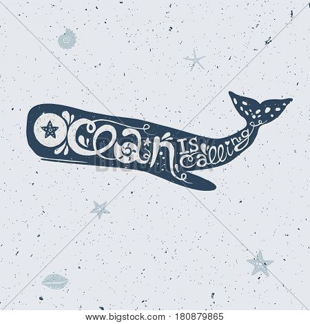 vector lettering with whale, vector illustration of a cachalot whale with lettering