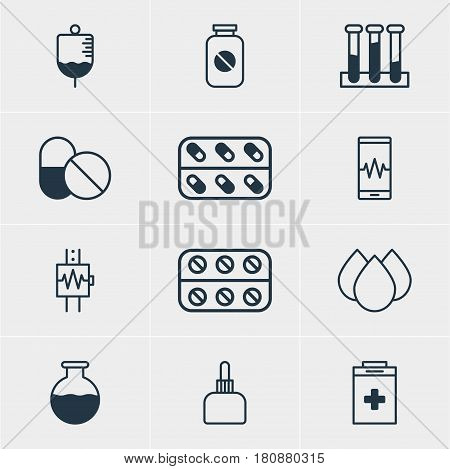 Vector Illustration Of 12 Medical Icons. Editable Pack Of Exigency, Experiment Flask, Medicine And Other Elements.