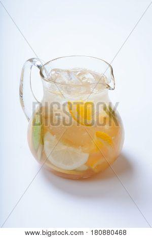 A Jug Of Apple Lemonade , Apple And Lemon And Ice