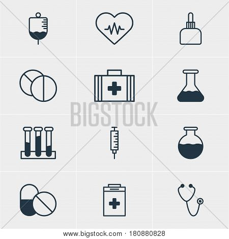 Vector Illustration Of 12 Medical Icons. Editable Pack Of Vial, Medicament Pitcher, Exigency And Other Elements.