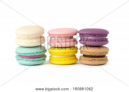 sweet delicacy macaroons variety closeup. Macaroons on white background.