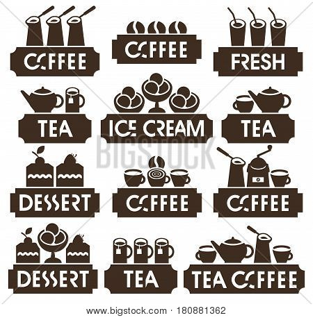 set of vector logo for restaurant cafe or coffee shop on hot coffee tea dessert juice and ice cream in retro style