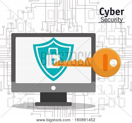 cyber security computer padlock key protection vector illustration eps 10