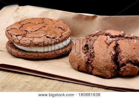 whoopi cookie and sea salt cookie on craft paper