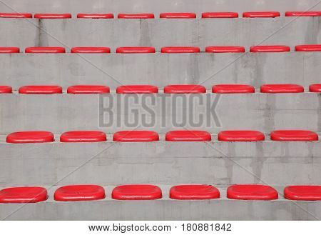 Red empty stadium seats