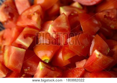 Slices of tomatoes. Chopped tomatoes.Fresh tomatoes Healthy food concept. Close up. Selective focus.