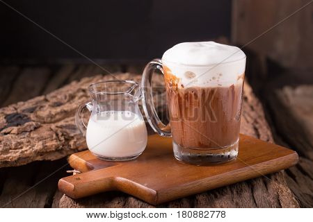 Cold Chocolate Milk Drink On Wooden Background
