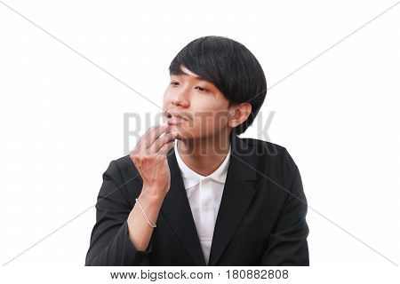 male his clean teeth with a toothpick on white background