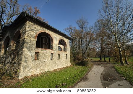 Monza (Brianza Lombardy Italy): old farmstead of Mulini Asciutti into the Park in november