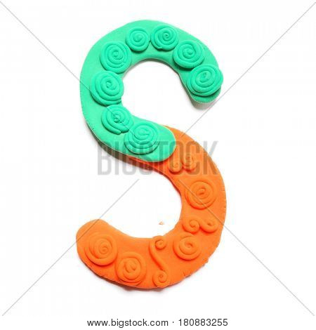 Plasticine letter S. Color plasticine alphabet, isolated.