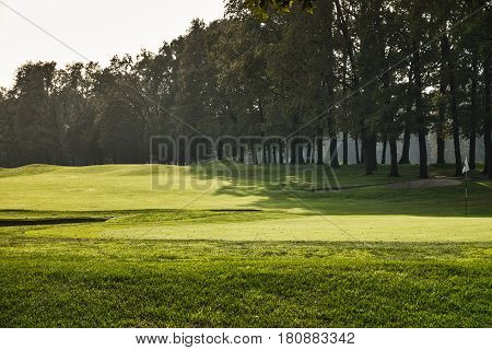 Monza (Brianza Lombardy Italy): the park at fall (october) a green of the golf course