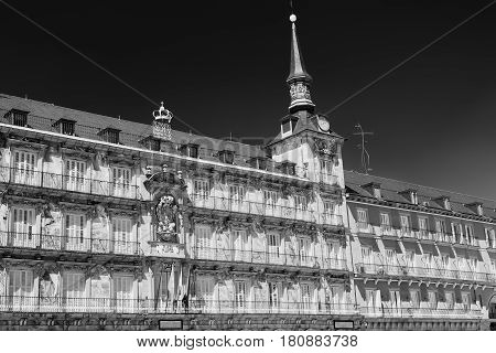 Madrid (Spain): facade of historic palace in Plaza Mayor the main square of the city known as Casa de la Panaderia. Black and white
